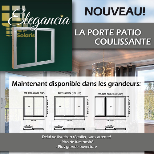Nouvelles grandeurs de porte patio elegancia chez solaris for Grandeur de porte